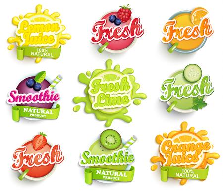 Set di arancio, limone, lime juece, frullato e etichette freschi spruzzi. Lettering, schizzi e disegno macchia, forma creativa illustrazione vettoriale. Vettoriali
