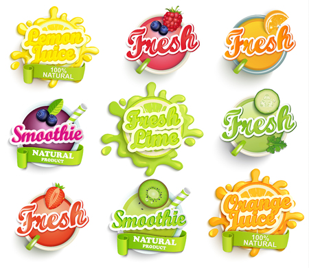 Set of orange, lemon, lime juece,smoothie and fresh labels splash. Lettering, splash and blot design, shape creative vector illustration.