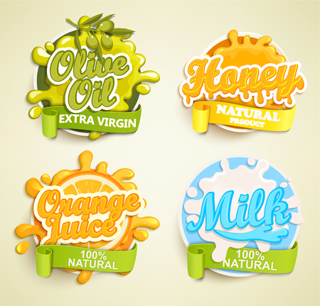 oil crops: Set of orange juice, olive oil, honey, lime labels splash. Lettering, splash and blot design, shape creative vector illustration. Illustration