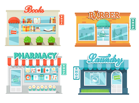 Shops and stores icons set in flat design style. Laundry, shop book, pharmacy and barbershop. Vector illustration