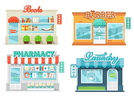 farmacia: Tiendas y almacenes de conjunto de iconos en el estilo de diseño plano. Servicio de lavandería, tienda de libro, farmacia y peluquería. ilustración vectorial