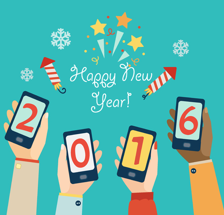 happy  new: Xmas and New Year holidays design. Flat vector illustration. Concept for mobile apps.