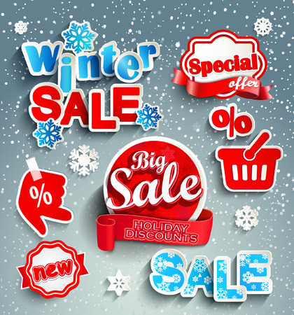 Winter sale background with red realistic ribbon. sticker, banner and snow. Sale. Winter sale. Christmas sale. New year sale. Vector illustration