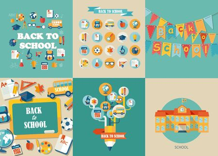 learning icon: Flat design vector illustration concepts of education. Concepts for web banners and printed materials. Abstract tree with pencil icons of education and science. Vector Illustration, eps10.