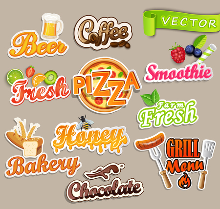 Set of stickers of food - farm fresh and pizza, fresh juice and grill, beer and bakery, chocolate and coffee, smoothie and honey.