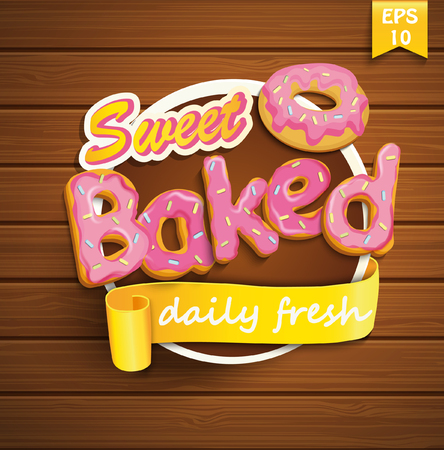 baked: Sweet baked sticker with ribbon and donut on the wood background. Vector.