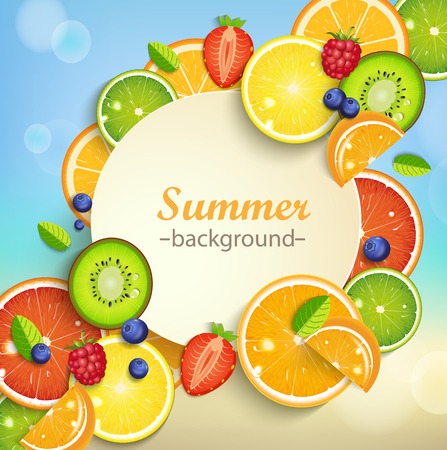 Summer background with tropical fruits and berries and round frame for the text.