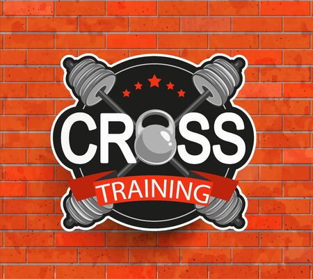cross bar: Retro styled crosstraining emblem, label, badg, logo and fitness gym designed elements for your projects, prints, cards, invitations. Sport illustration, Vector.