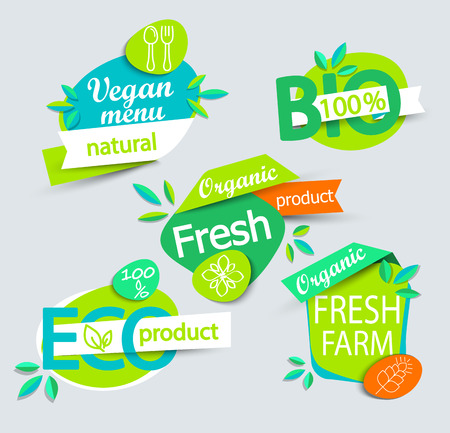 cafe food: Modern set of healthy organic food labels, tags, emblems for meal and drink,cafe, restaurants and organic products packaging.