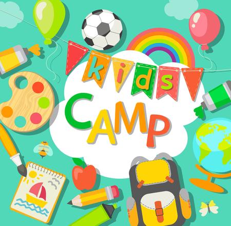 Themed Summer Camp-poster in vlakke stijl, vectorillustratie.