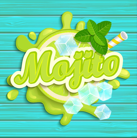 Mojito label splash. Blot and lettering with ribbon and ice cubes on blue wooden background. Splash and blot design, shape creative vector illustration.