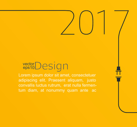 2017 - New year. Abstract line vector illustration with wire plug and socket. Concept of connection, new business, start up. Flat design.