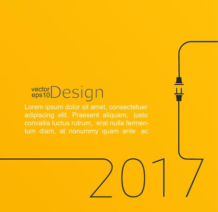 2017 - Nouvel an. Illustration vectorielle ligne abstraite avec prise de courant et prise. Concept de connexion, nouvelle entreprise, démarrage. Design plat