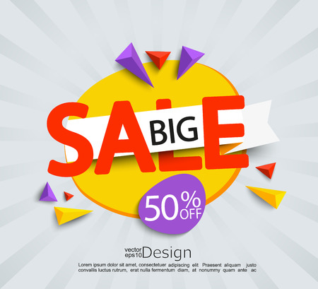 percentage: Banner for big sale. Sale and discounts. Vector illustration.