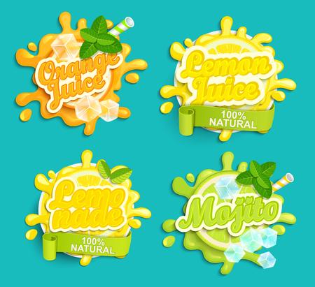 Conjunto de la limonada, naranja, limón juece, etiquetas mojito de bienvenida. Letras, salpicaduras y diseño blot, dar forma creativa ilustración vectorial.