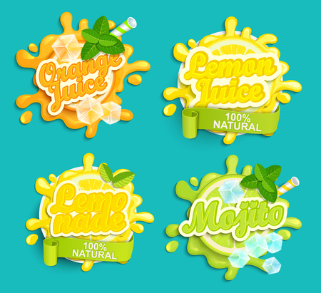 Set of Lemonade, orange, lemon juece, mojito labels splash. Lettering, splash and blot design, shape creative vector illustration. Иллюстрация