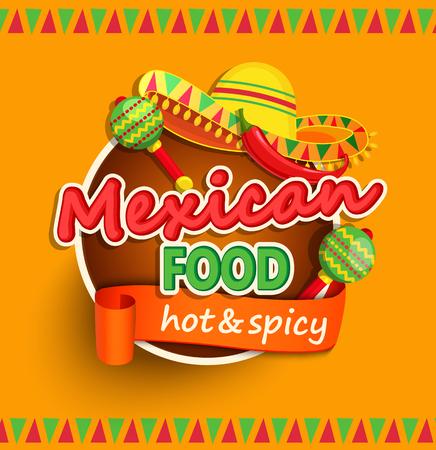 Mexicaans eten label met traditionele pittige, maracas en sombrero vector illustratie Stock Illustratie
