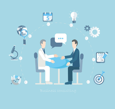 conduct: Flat design vector concepts for business, finance, strategic management, investment, natural resources, consulting, teamwork, great idea. Businessmen conduct negotiations at a table. Illustration
