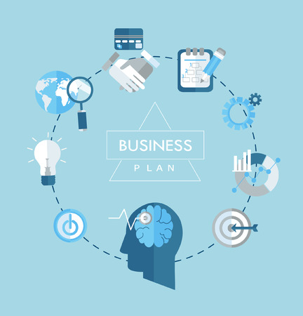 analise: Business plan concept flat icons illustration. Vector emblem in outline style