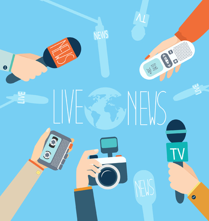 Journalism concept vector illustration in flat style.Vector live report concept, live news, hands of journalists with microphones, camera and tape recorders.