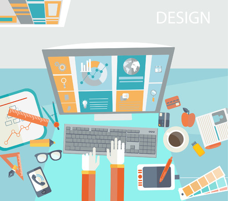 Flat modern design vector concept of creative office workspace, workplace. Illustration