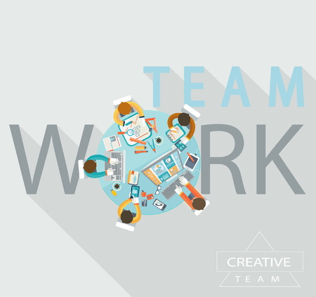 roundtable: Business meeting, teamwork, brainstorming in flat style. Illustration