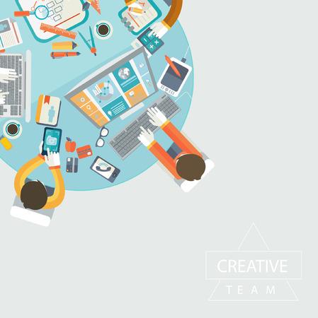 Zakelijke bijeenkomst, teamwork en brainstorming in vlakke stijl. Stock Illustratie