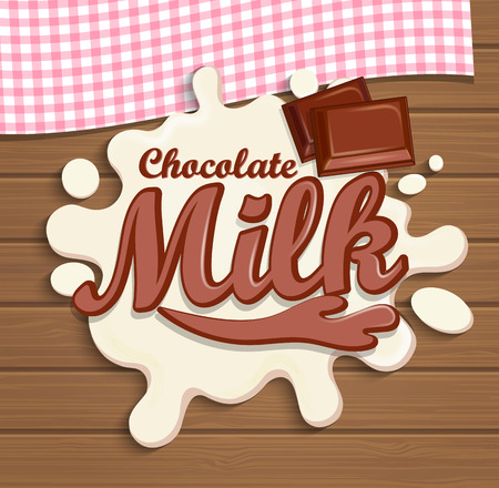 chocolate splash: Milk chocolate splash with lettering on the wooden background, vector illustration.