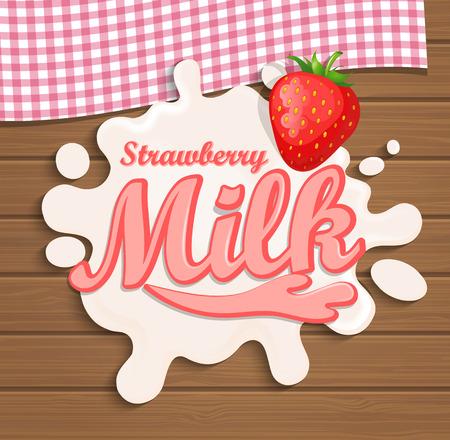 strawberry splash: Milk strawberry splash with lettering on the wooden background, vector illustration.