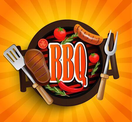 BBQ Grill elements - Typographical Design Label or Sticer on the vintage background. Design Template. Vector illustration. Illustration