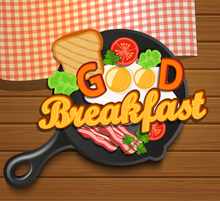 english breakfast: English breakfast - fried egg, tomatoes, bacon and toast. Top view. Lettering - good breakfast, vector illustration