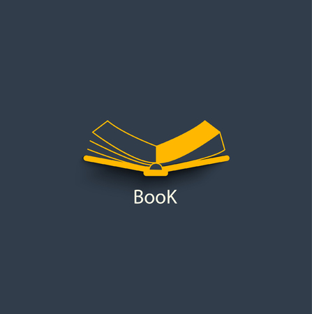 scribe: Open book in paper style. Vector icon