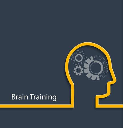 gear head: Brain training concept. Gear head. Vector illustration Illustration