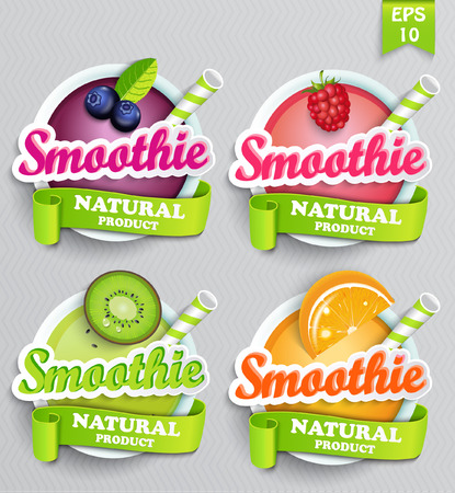 sticers: Set sticers smoothie with ribbon, vector illustration.