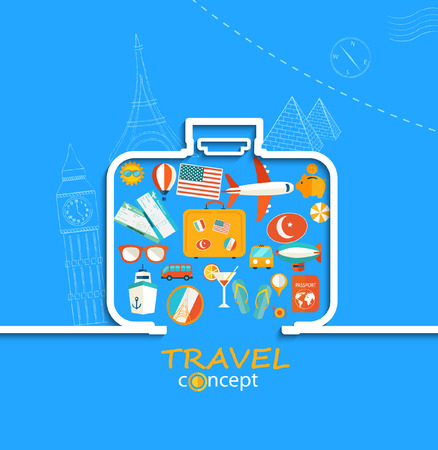 skyblue: Concept of the travel - path of the suitcase in paper style with shadow and with flat icons of a sky-blue background , vector. Illustration