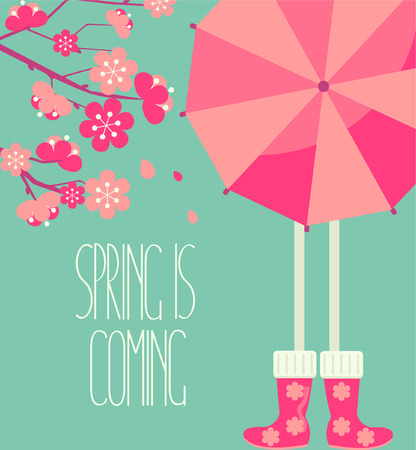 caligraphic: Vector illustration of a spring season in flat style - cherry blossoms and people with a bright umbrella and boots with the inscription made by hand the Spring is coming. Illustration