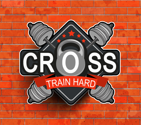 cross bar: Retro styled fitness emblem Illustration