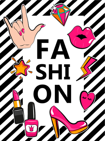 Template for fashion with stylish patch badges with lips, hearts, speech bubbles. Set of fashion stickers, icons, patches in 80s-90s comic cartoon style. Geometric background.