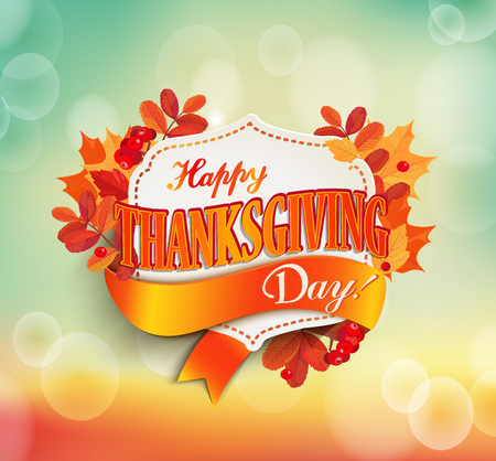 Happy thanksgiving day - autumn background with colorful leaves and vintage frame with text. Illustration