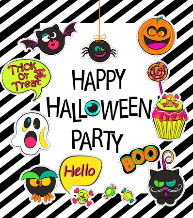 sticers: Set of stylish halloween card, sticers, poster, icons, patches in comic cartoon style on geometric background. Happy halloween party - lettering.