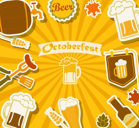 bbq barrel: Beers Festival background Octoberfest, vector illustration. EPS10 Illustration