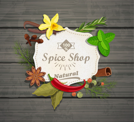 spice: Spice shop paper vintage frame with different spices on the grey wood background, vector illustration.