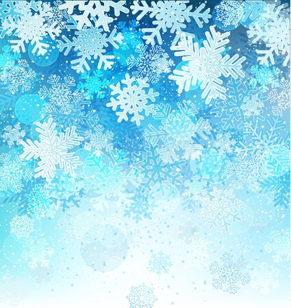 Bright blue background with snowflakes and snow, vector illustration Illustration