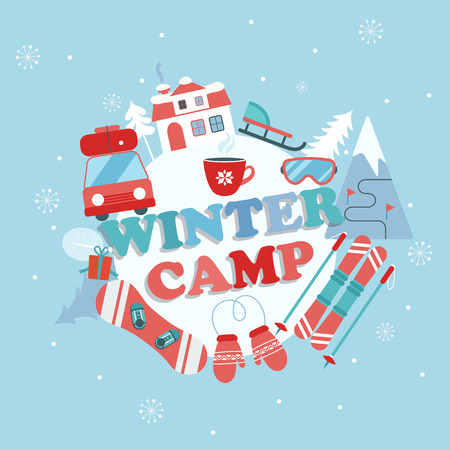Christmas Holiday and Travel themed Camp poster in flat style , Winter camp banner vector illustration.