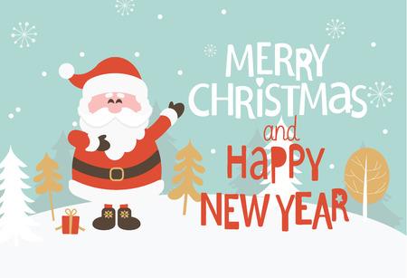 Kerst wenskaart. Vrolijk kerstfeest en een gelukkig nieuwjaarsbelettering. Vector illustratie.