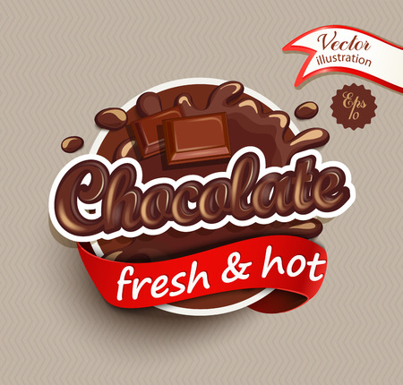 Vector illustration label of chocolate drops and blot with lettering . Sweet and stain and shape. Çizim