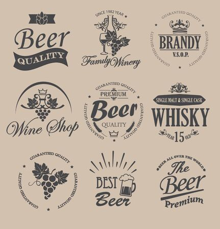 hogshead: Set of badges and labels elements for alcohol drinks - vector illustration. Illustration