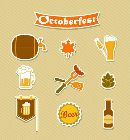 bbq barrel: Oktoberfest Beer Brewery icons set. Vector illustration. Illustration