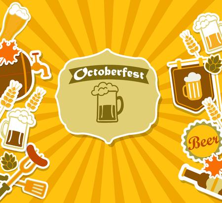 bbq barrel: Vintage Beer Brewery Poster for octoberfest. Vector illustration. Illustration