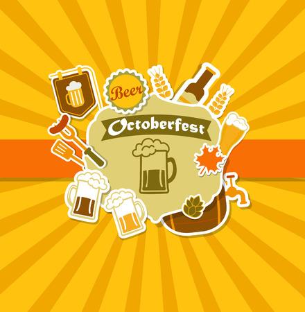 bbq barrel: Octoberfest Vintage Beer Brewery Poster. Vector illustration.